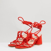 Public Desire Freya Orange Mid Heeled Sandals at asos.com