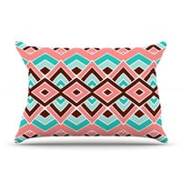 "Pom Graphic Design ""Eclectic"" Peach Teal Pillow Case"
