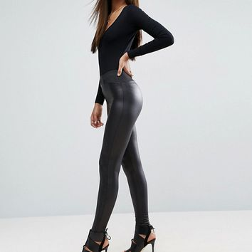 ASOS TALL Leather Look Leggings with Elastic Slim Waist at asos.com
