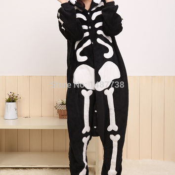 New Unisex Adult Animal Skeleton Skull Onesuit Pajamas Cosplay Costume Sleepwear