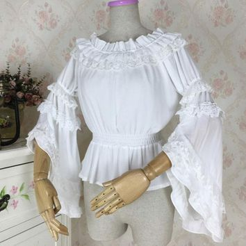Sweet Women's Long Flare Sleeve Chiffon Blouse Vintage Off the Shoulder Top