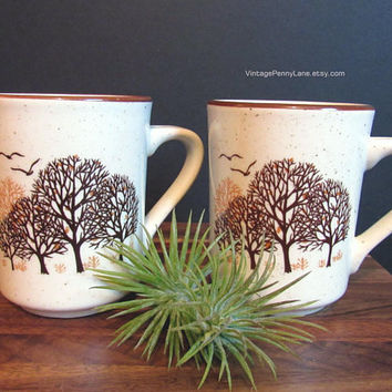 Vintage Tree Stoneware Mugs, Coffee Cups, Korean Coffee Mug Set, Nature Theme