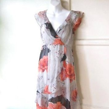 Sheer Coral/Grey Floral Dress w/ Ruffles; Moulinette Soeurs Sz 4 Faux Wrap Dress