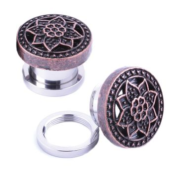 BodyJ4You Plugs Ear Gauges Rose Gold Tribal Flower Lotus Screw Fit 12mm Piercing Jewelry