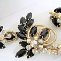 Black Juliana Brooch Set, Open Back Navettes, AB Rhinestones,  Metal Rope Work, Book Piece