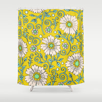 Lemon Yellow Floral Shower Curtain by PeriwinklePeacoat