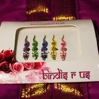 5 Stunning Wavy Bindis in Crystal and Golden Beads.