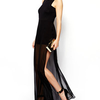 Black Sleeveless Mesh Maxi Dress with Side Slit