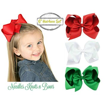 Christmas Red /& Green With White Polka Dots Hair Bow Double Knot With Clip 2//Set