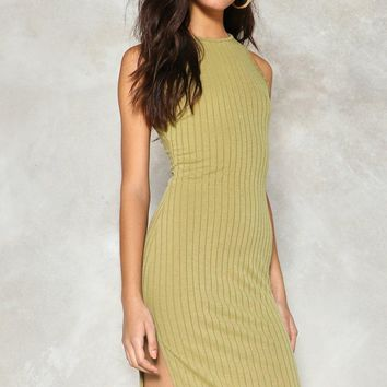 Slittin' Pretty Ribbed Dress
