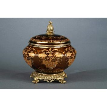 Elizabeth Marshall 31-15-11440 Amber Glass Box with Gold Accents