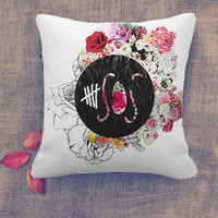5Seconds of Summer Logo and flower Pillow Case/ Pillow Cover/ 16 x 16/ 18 x 18/ 16 x 24/ 20 x 30/ 20 x 36