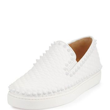 Christian Louboutin Pik Boat Spiked Red Sole Sneaker, Latte/White