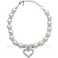 Mirage Pet Products Heart and Pearl Necklace, White