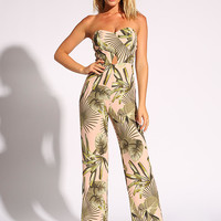 Blush Palm Leaf Sweetheart Jumpsuit