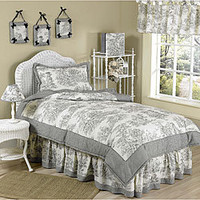 Sweet JoJo Designs Vintage French Black Toile 4-piece Girl's Twin-size Bedding Set | Overstock.com