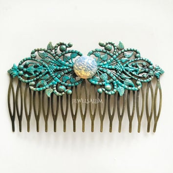 Opal Hair Comb Turquoise Comb Harlequin Opal Hair Slide Wedding Hair Pin for Bride Moonstone Fire Opal Hair Accessories Fairy Jewelry