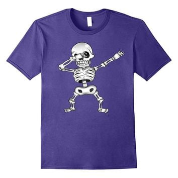 Creepy Dabbing White Skeleton Funny Halloween Costume tshirt