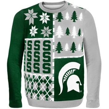 Michigan State Spartans Busy Block Ugly Sweater – Green