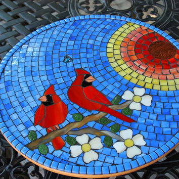 Lazy Susan Stained Glass Mosaic Cardinal Morning