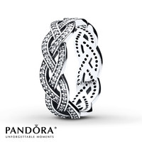 PANDORA Braided Ring Clear CZ Sterling Silver