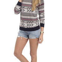 Nomad Chic Aztec Print Pullover