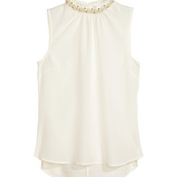 H&M - Beaded Blouse - Natural white - Ladies