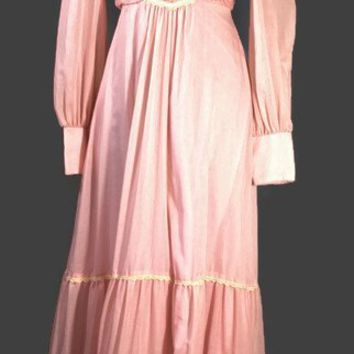 Vintage 1970s Jody T of California Bubblegum Pink Long Dress