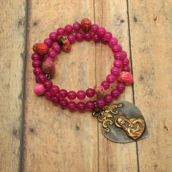 Rustic Rosary Bracelet   Wrist Rosary   Immaculate Heart of Mary   Pink and Purple   Rustic Cross Bracelet   Catholic Gift for Mom
