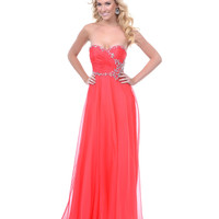 Coral Chiffon Rhinestone Strapless Prom Dress - Unique Vintage - Cocktail, Pinup, Holiday & Prom Dresses.