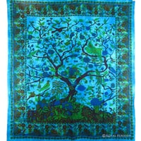 Turquoise Bohemian Hippie Tree Of Life Wall Hanging Bedspread