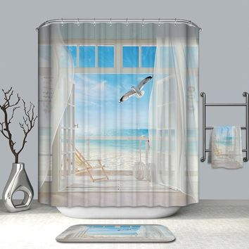 Summer Hot Bath Curtains Fake Window Beach Scenery Pattern 3D Shower Curtains Polyester Washable Bathroom Products + 12 Hook