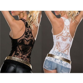 Summer Sexy Lace Vest Top Sleeveless Shirt Blouse Casual Tank Tops T-Shirt for Women Lady Girls [8805228103]