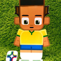 Brazil football soccer craft activity. Printable paper toy. Instant download. Make you own cards, banners and football soccer bunting!