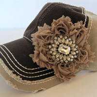 Two Tone Brown and Tan Trucker Baseball Cap Hat with a Brown Flower and Gorgeous Champagne Rhinestone Accent
