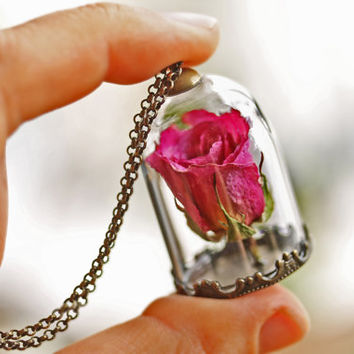 Best rose terrarium products on wanelo pink rose bud necklace real rose pendant dried flower locket audiocablefo light ideas