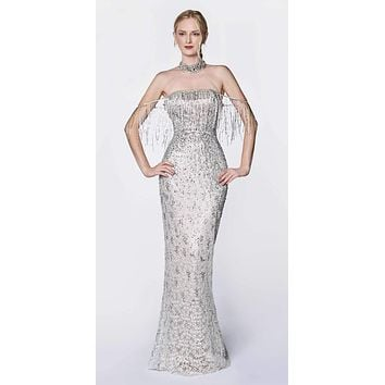 Cinderella Divine Black Label CK809 Silver/Nude Dress Full Length