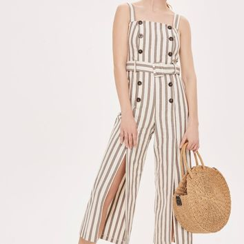 Button Striped Jumpsuit | Topshop