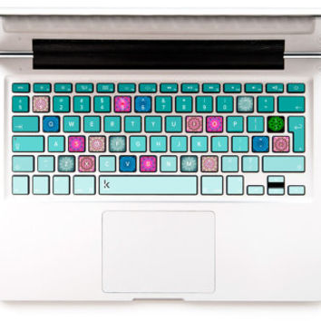 Mint green ombre with mandala pink blue design Macbook Decal HP Keyboard Decal Macbook Keyboard Decal Macbook Air Stickers Keyboard sticker