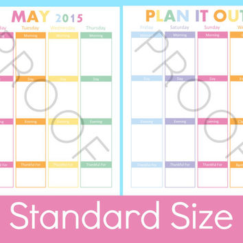 2015 Daily Planner Printable Pages, Daily Planner 2015, Weekly Planner, Arc Notebook, Weekly Calendar, 8.5 x 11 Planner, Calendar