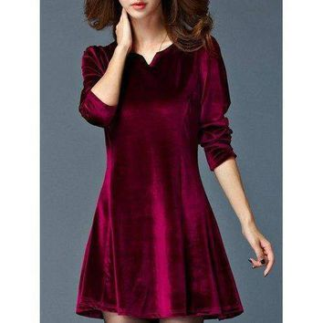 Flannel Stretchy A-Line Dress - Deep Red 4xl