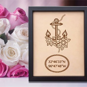 Lik166 Leather Engraved Wedding 3rd anniversary personalized gift Latitude Longitude home places wedding date anchor symbol