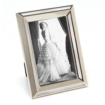"Maxxi Designs Photo Frame with Easel Back, 5 x 7"", Nickel Plated White Pearl Cosmo"