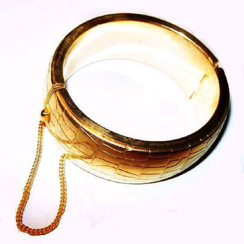 "Gold Cuff Bracelet Faux Leather Pattern Hinged Oval Security Chain 1"" W Vintage"
