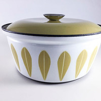 Vintage Catherineholm Lotus Pot Mustard Yellow Casserole Pot Dutch Oven Enamel Norway Enamelware Mid Century Modern Kitchen MCM