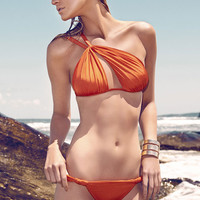 Orange Ruched One Shoulder Bikini