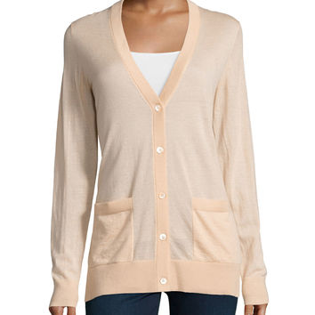 Long Cashmere Cardigan, Nude, Size: