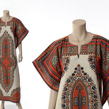 Vintage 70s Dashiki Hippie Caftan Maxi Dress 1970s Ethnic Indian Cotton Angel Sleeve Long Gypsy Kaftan Boho Long Dress / Large / L
