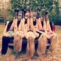 Best friends & cowboy boots. Girls love trucks. <3