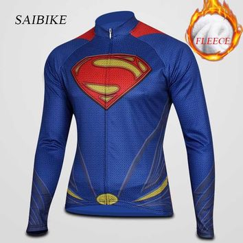 Long cycle jersey Winter thermal fleece Superman Cycling jersey bike long sleeves sports clothing Ropa ciclismo bicycle wear